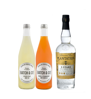 Picture of Plantation Rum 3 Star 700mL & Batch & Co Spiced Pear Fig 500mL & Guava 500mL Cocktail Bundle