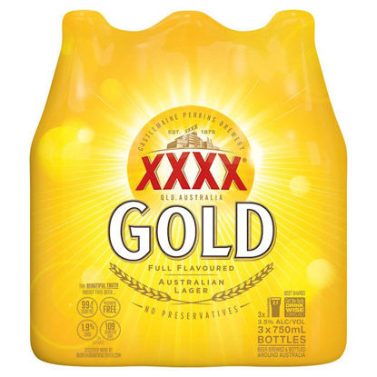 Picture of XXXX Gold 750Ml 3 Pk