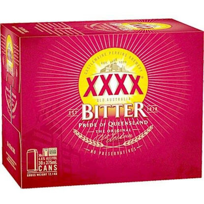 Picture of XXXX Bitter 30Pk Block 375ml Cans