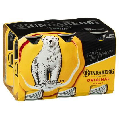 Picture of Bundaberg Rum UP & Cola 6 x 375ml Can-6Pk