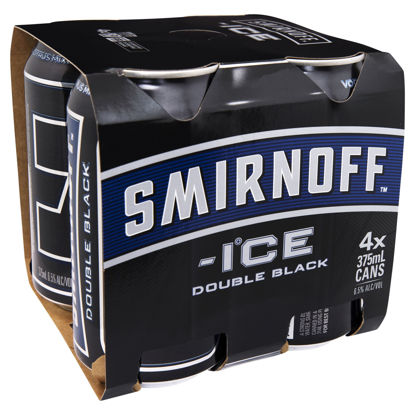 Picture of Smirnoff Double Black Vodka 6 x 355ml Can-6Pk