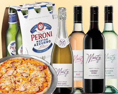 Picture of Movie Night Deal, Pizza  plus 6 Pk of Peroni or Bottle of Wine