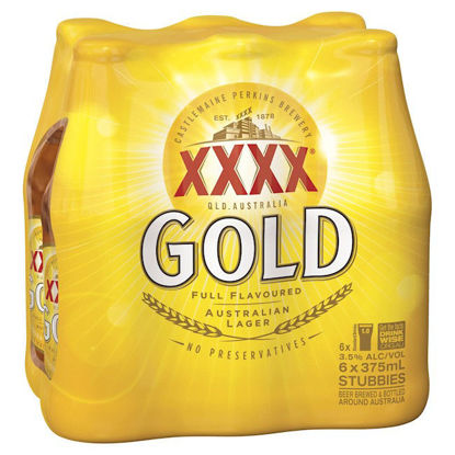 Picture of XXXX Gold Australian Lager 375ml Stubbie Shrinkwrap 6 Pack