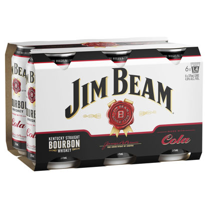 Picture of Jim Beam White Bourbon & Cola 6 x375ml Can-6Pk
